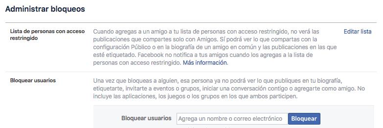 Administrar boqueos _Facebook